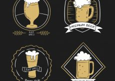 Free vector Various hand-drawn beer stickers #5771