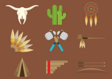 Free vector North American Indian Icons #4325