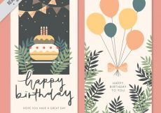 Free vector Vintage greeting cards with cake and balloons #11367