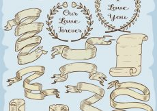 Free vector Vintage ribbons collection #8031