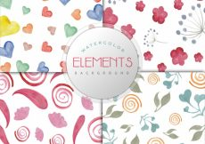 Free vector Watercolor elements pattern background collection #8900