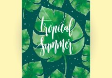 Free vector Watercolor summer card with palm leaves #3911