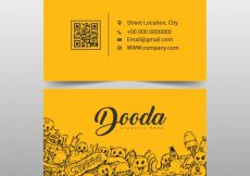 Free vector Yellow business card with cartoons #11811