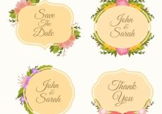 Free vector Assortment of decorative stickers with flowers #12497