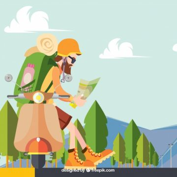Free vector Background of hiker in the field in flat design #18723