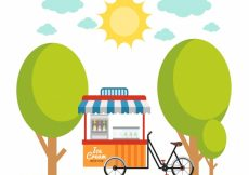 Free vector Background of ice cream cart in the park #13409