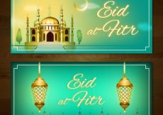 Free vector Banners of eid al fitr with mosque and lamps #14447