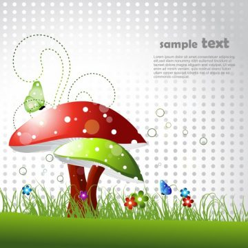 Free vector Beautiful mushroom design with space for text #16292