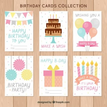 Free vector Birthday wish cards collection #17887