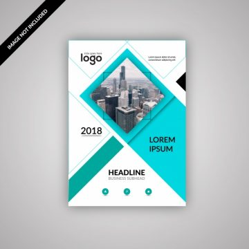 Free vector Blue and white business brochure #18633