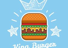 Free vector Blue background with tasty burger and sketches #15523