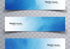 Free vector Blue watercolor banners #17931