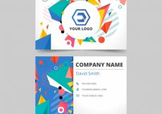 Free vector Business card with geometric shapes #16243