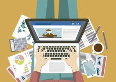 Free vector Busy person working on laptop #15569