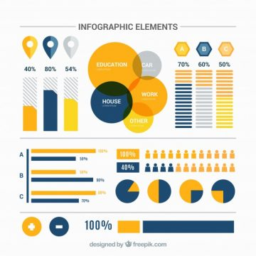 Free vector Collection of infographic items with orange details #14993