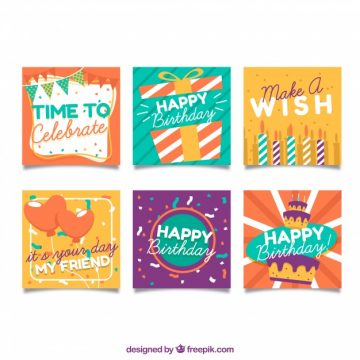 Free vector Colorful flat design birthday cards #17883