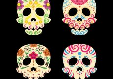 Free vector Colorful mexican skull collection #15799