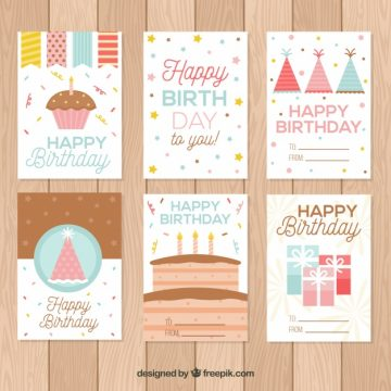 Free vector Cute birthday cards collection #17895