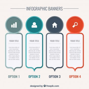 Free vector Decorative infographic banners in flat design #15203