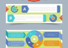 Free vector Decorative infographic banners with flat elements #15217