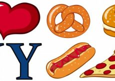 Free vector Different food and I love New York sign illustration #12539
