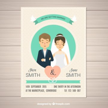 Free vector Dotted wedding invitation with newlyweds #15655
