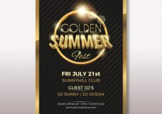 Free vector Elegant golden summer party poster #14691