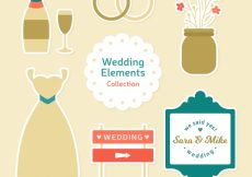 Free vector Elegant pack of wedding objects in flat design #13159