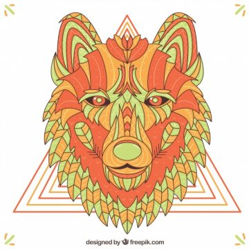 Free vector Ethnic hand drawn wolf background #16235
