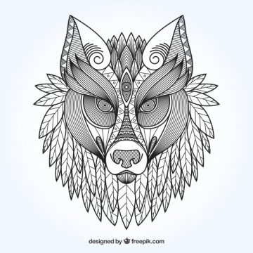 Free vector Ethnic ornamental wolf background #17698