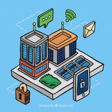 Free vector Facade of business buildings in isometric style with elements #18358