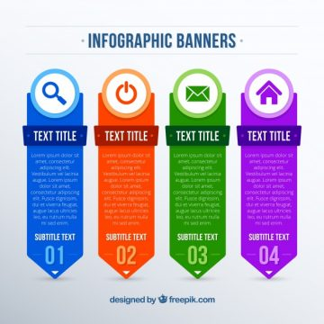Free vector Flat assortment of colored infographic banners #15197