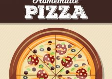 Free vector Flat design homemade pizza background #17645