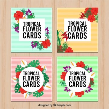 Free vector Four colorful striped tropical cards with flowers #18133