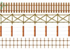 Free vector Four designs of wooden fence illustration #12599