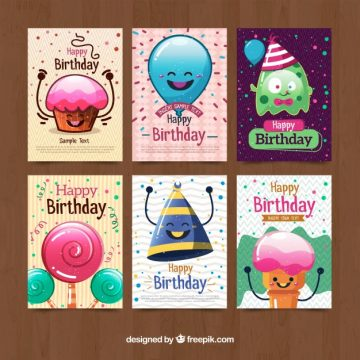 Free vector Funny character birthday cards collection #17889
