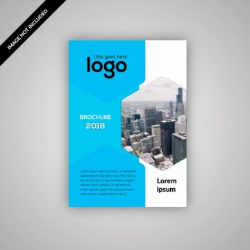 Free vector Geometric business flyer with blue and white design #18629