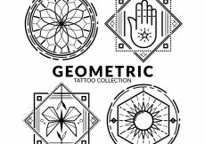 Free vector Geometric emblem tattoo collection #17802
