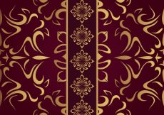 Free vector Gold elements on red background #18766