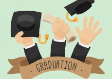 Free vector Graduation background of hands with diploma and graduation caps #15945