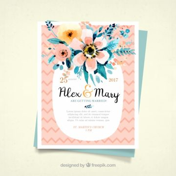 Free vector Great wedding invitation with watercolor flowers #15343