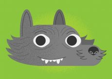 Free vector Green background with wolf face #16205