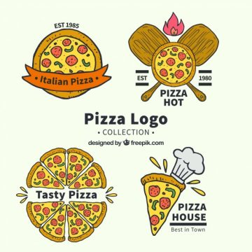 Free vector Hand drawn pizza logo collection #17655