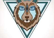 Free vector Hand drawn wolf head with triangle #16229