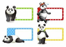 Free vector Labels design with pandas illustration #13501