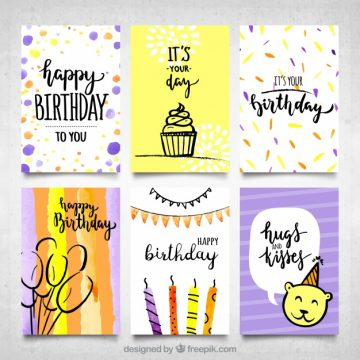 Free vector Modern water color birthday cards collection #17903