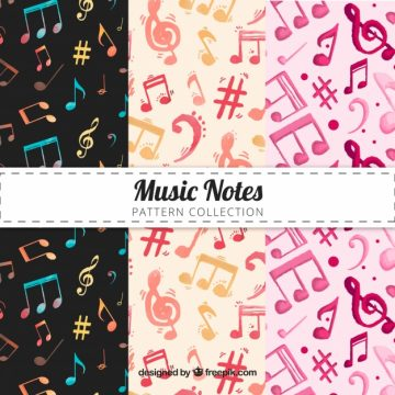 Free vector Multicolor music notes pattern #17572