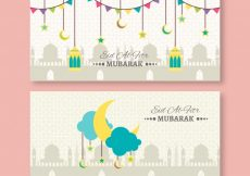 Free vector Nice eid al fitr banners in flat design #14443