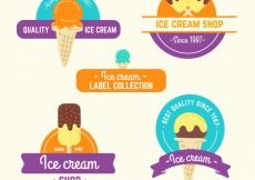 Free vector Pack of colorful ice cream stickers #15367