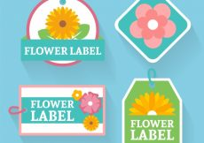 Free vector Pack of four floral tags in flat design #12489